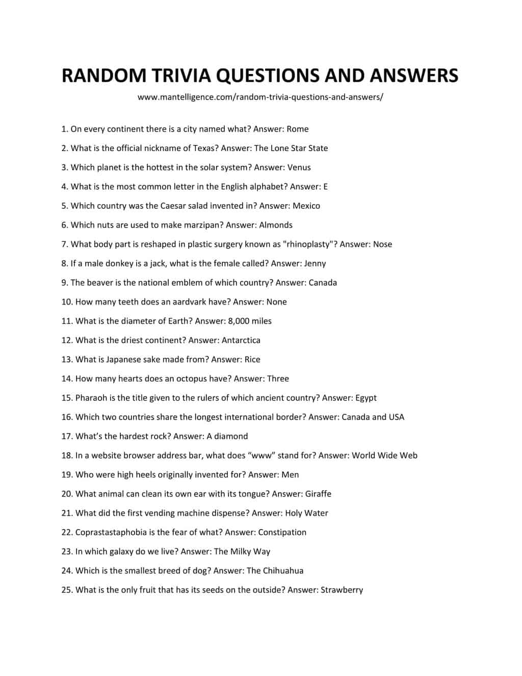 Downloadable and Printable List of Random Trivia Questions and Answers