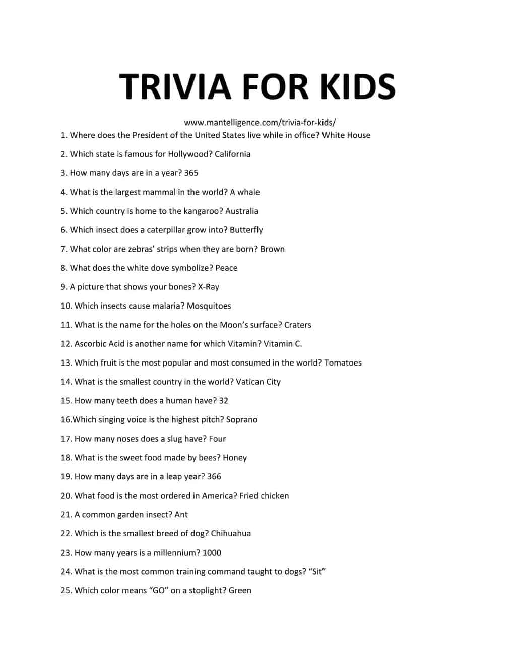 Downloadable and Printable List of Trivia For Kids