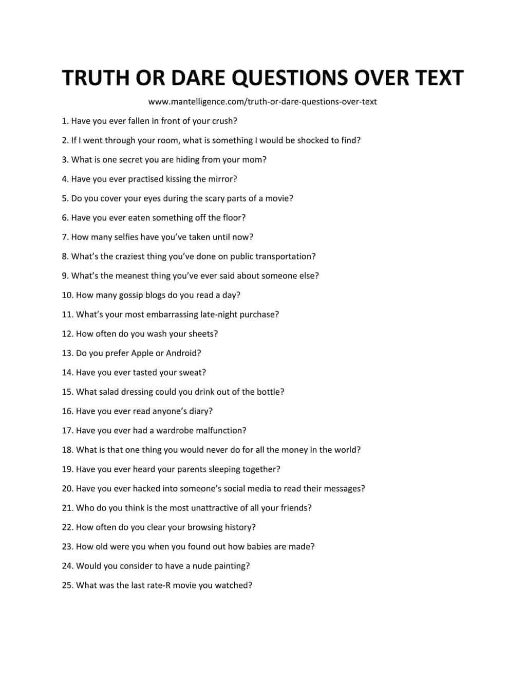 Downloadable and Printable List of Truth or Dare Questions Over Text