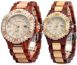 practical anniversary gifts for parents - Couple Wooden Quartz Watch