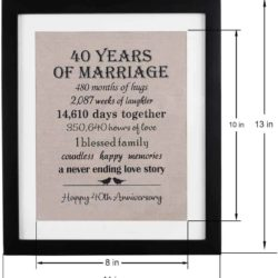 thoughtful anniversary gifts for parents - Wedding Anniversary Burlap Print with Frame