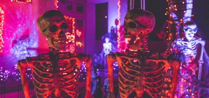 Skeleton decorations on a Halloween day setup