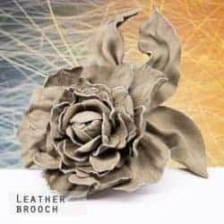 Brown rose brooch