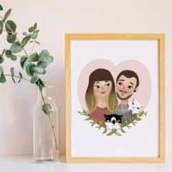 2 year anniversary gifts - Custom couple portrait