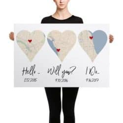 2 year anniversary gifts - Hello, Will You?, I do Personalized modern map