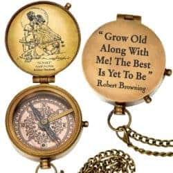 Birthday Gift Ideas For Girlfriend That Can Be For Anniversaries - grow old along with me engraved compass