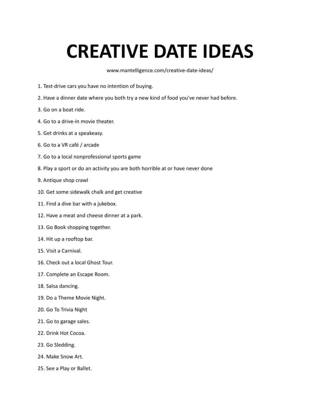 Downloadable and Printable List of Creative Date Ideas