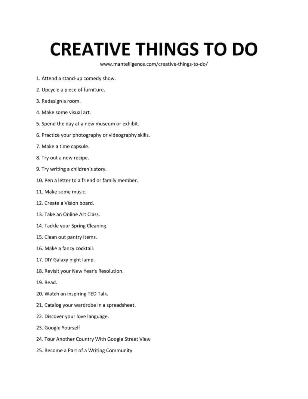 List of Creative Things To Do