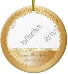 DIY 50th wedding anniversary gifts - 50th Anniversary Ornaments- Add your own photo