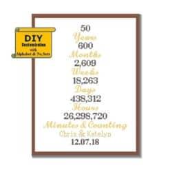 DIY 50th wedding anniversary gifts - Golden Anniversary Cross Stitch Pattern