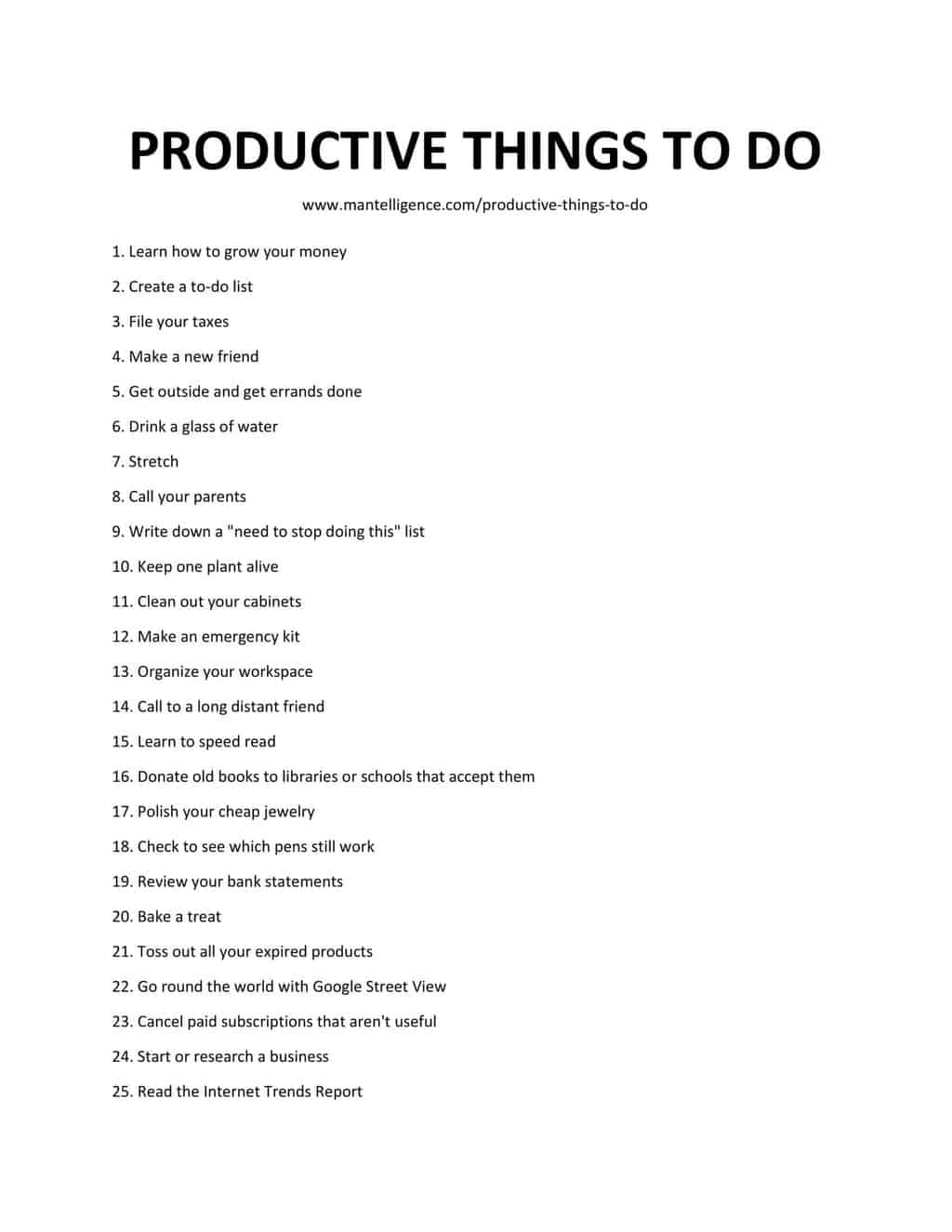 Downloadable list of productive things to do