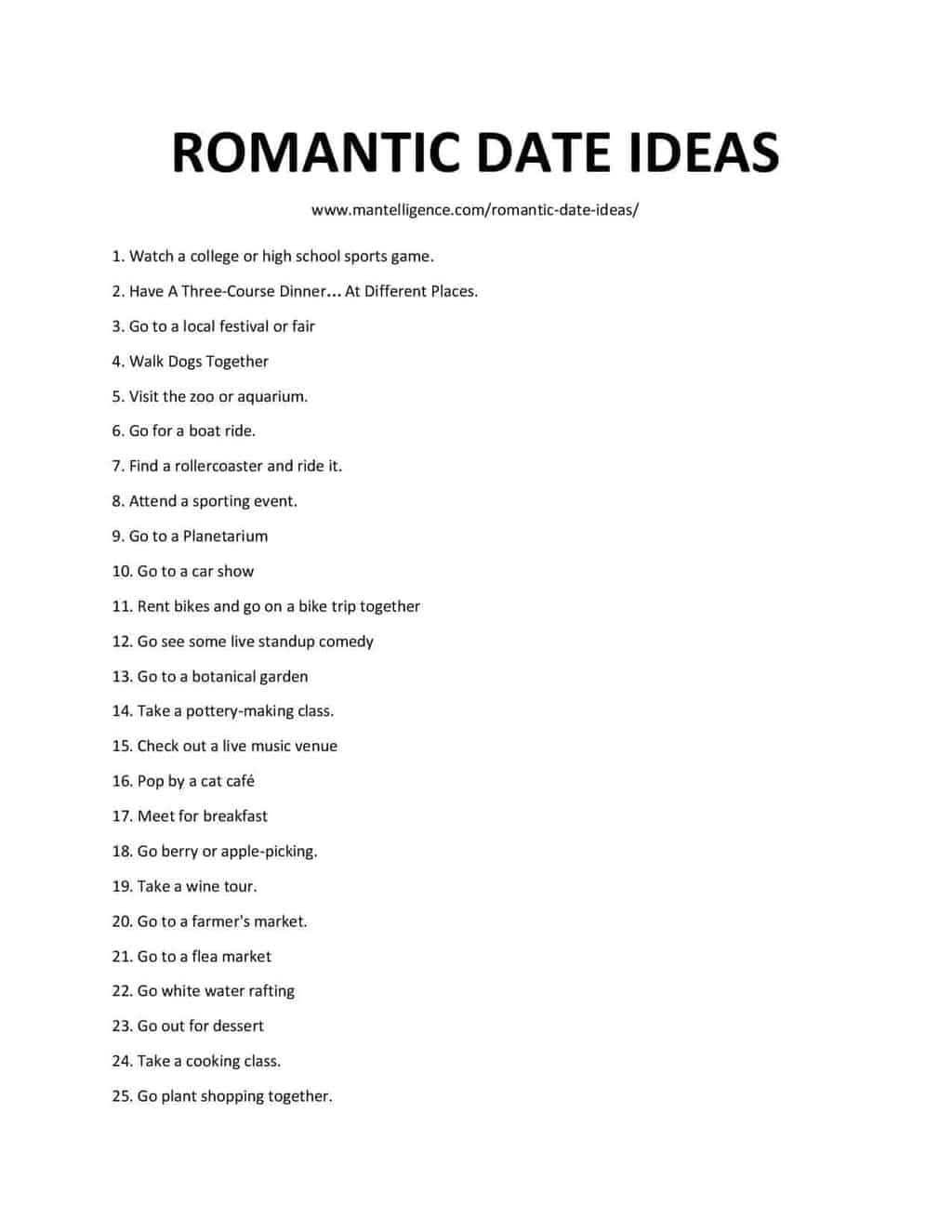 Downloadable and Printable List of Romantic Date Ideas