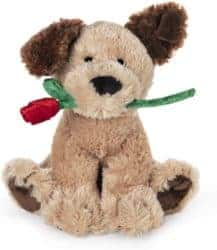 Small birthday gift ideas for girlfriend - Dog Holding Red Rose Stuffed Animal