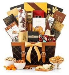 thoughtful 50th wedding anniversary gifts - Golden Gourmet Gift Basket