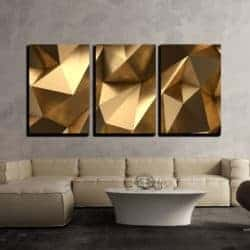 3 Piece Gold Abstract Polygonal Background