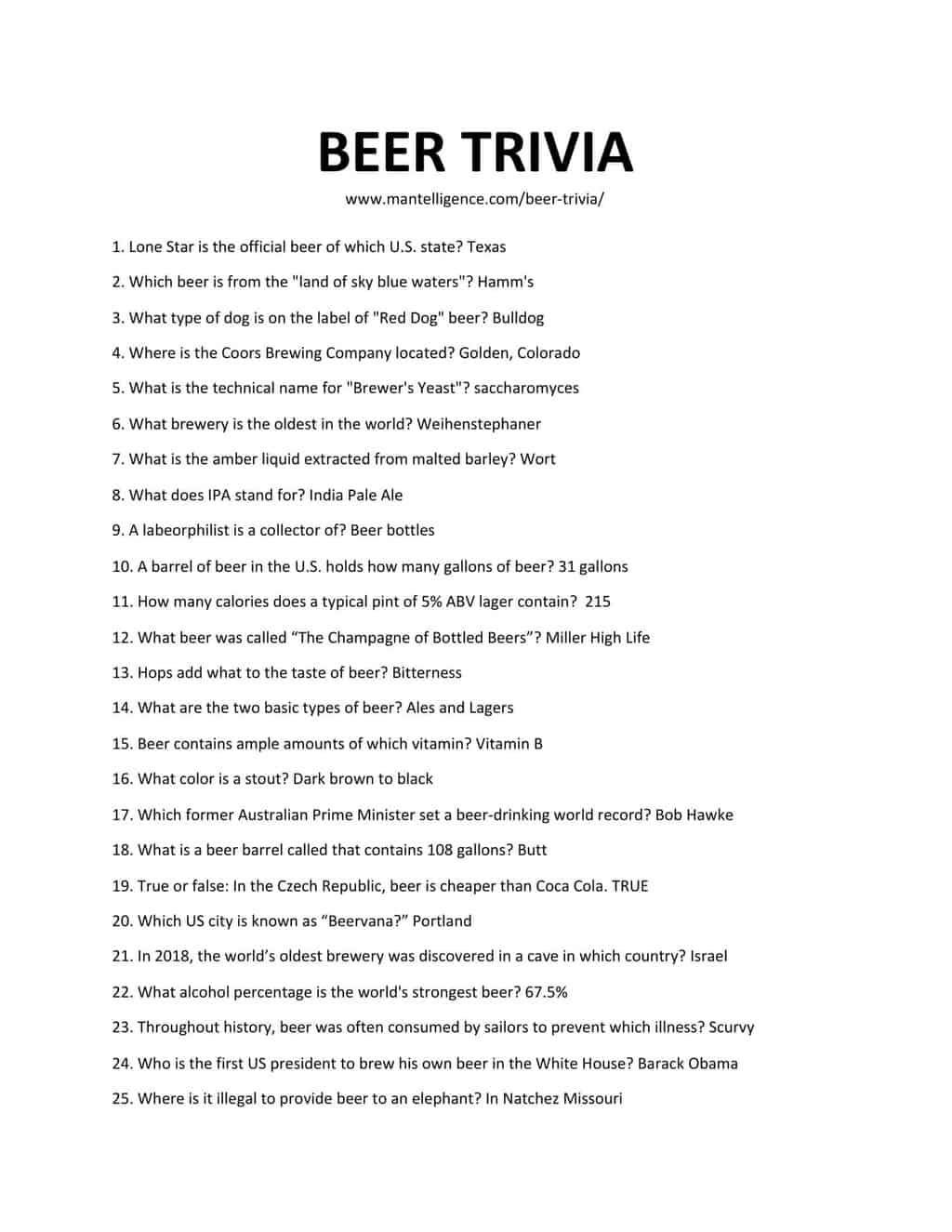 Downloadable and printable jpg/pdf list of beer trivia