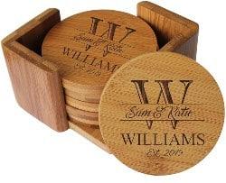 Custom Engraved Bamboo Wood Coasters (1)