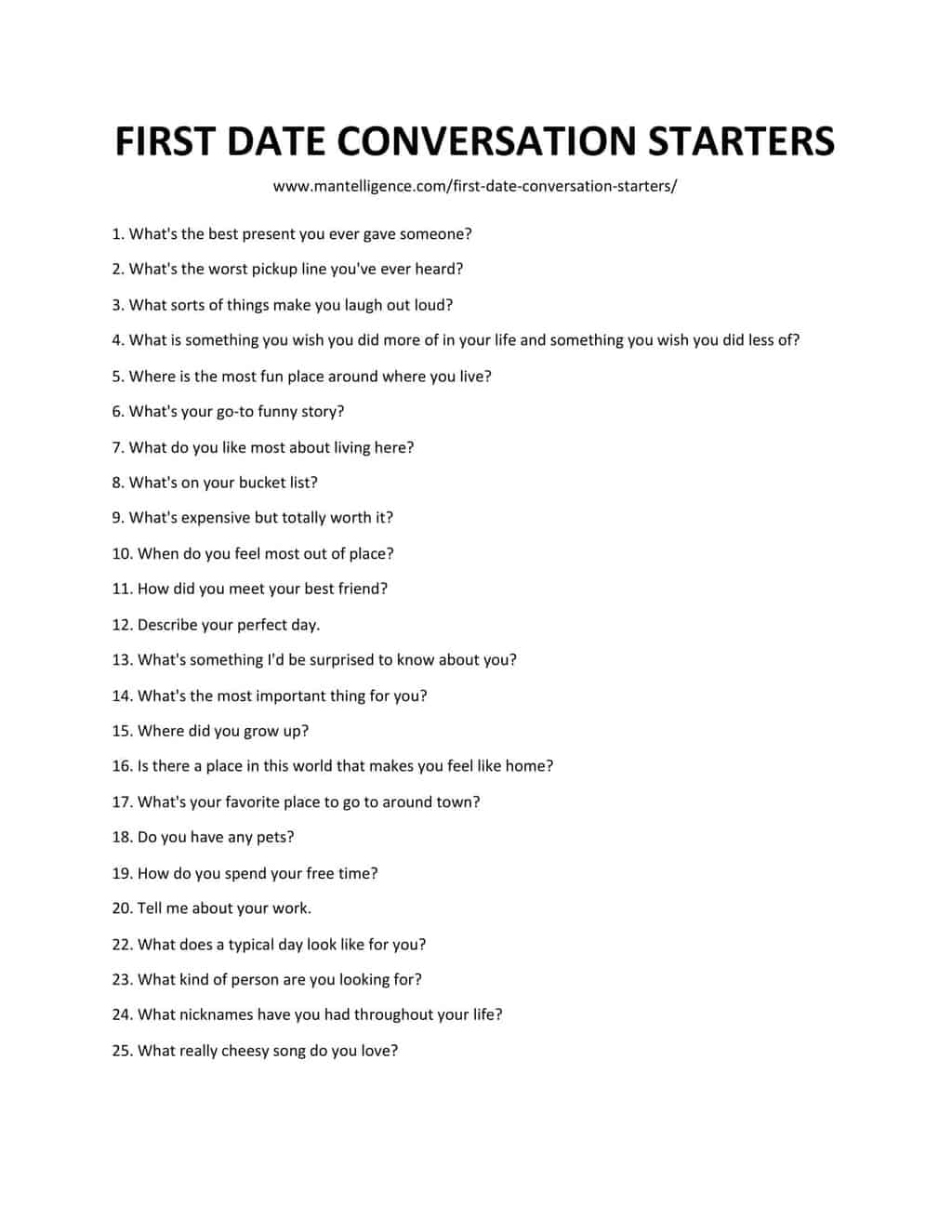 Downloadable and Printable List of First Date Conversation Starters as jpg/pdf