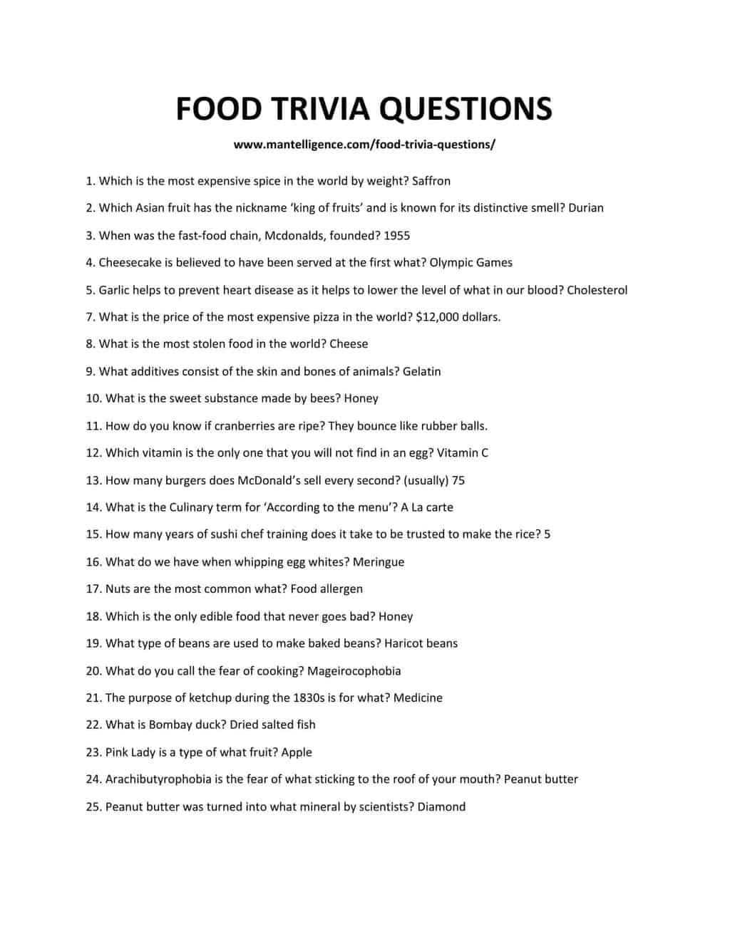 FOOD TRIVIA QUESTIONS-1