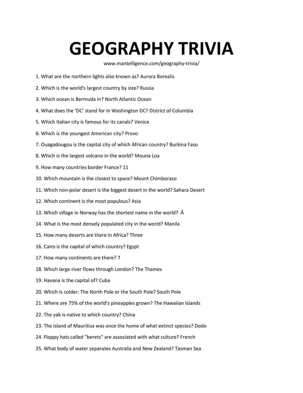 Downloadable List of Geography Trivia