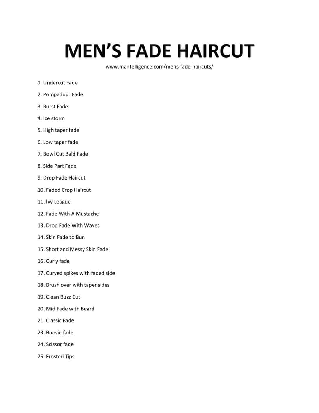 Downloadable List of Men's Fade Haircut