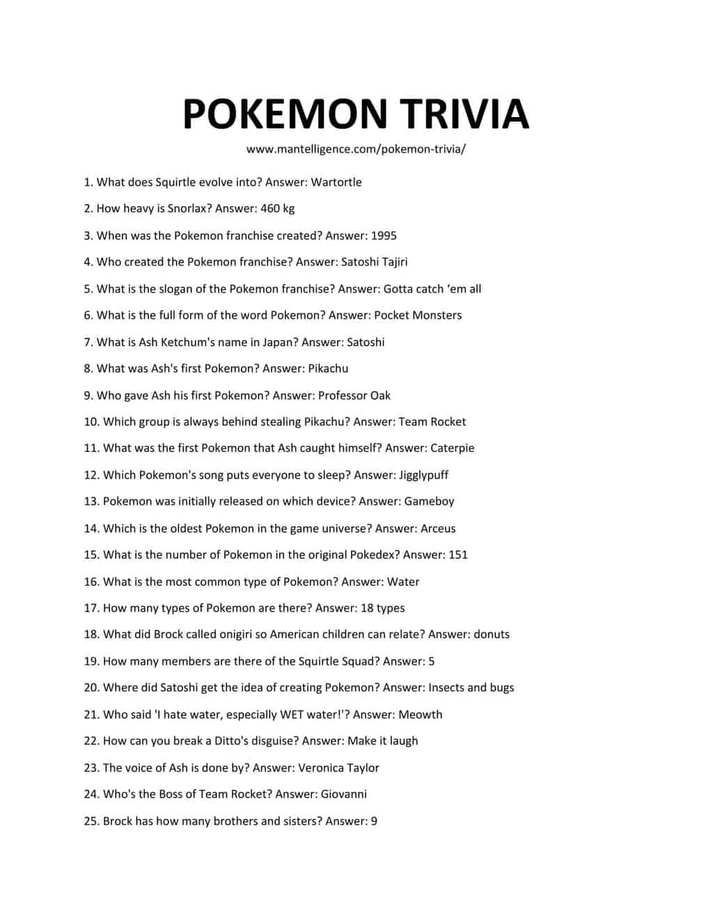 Downloadable and printable list of pokemon trivia as jpg or pdf