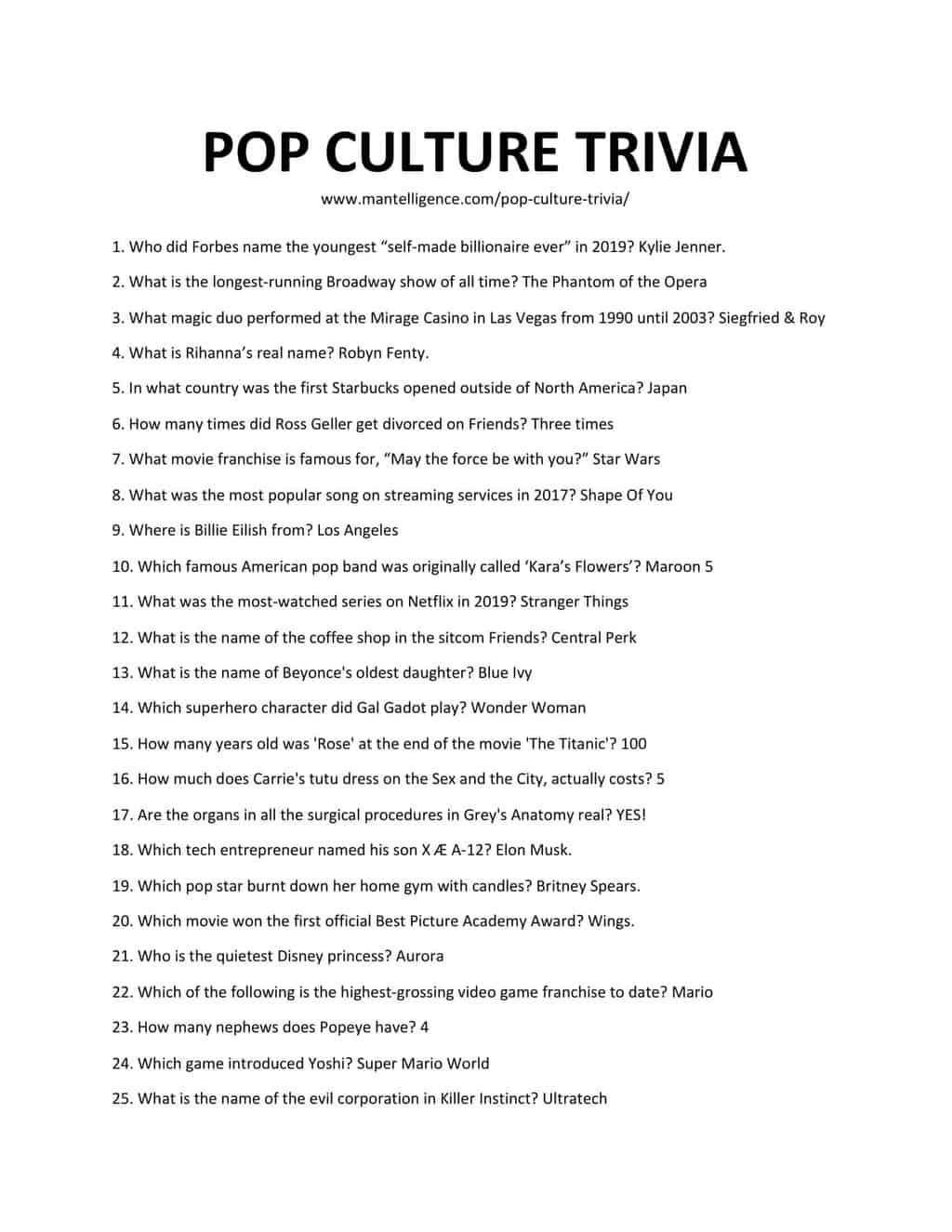 Pop Culture Trivia - Downloadable List of Pop Culture Trivia