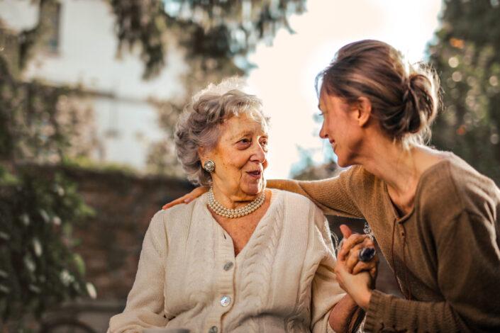 Grandmother and granddaughter bonding together