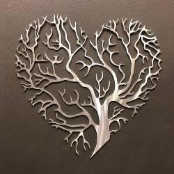 Tree of Life Heart Aluminum Metal Wall Art (1)