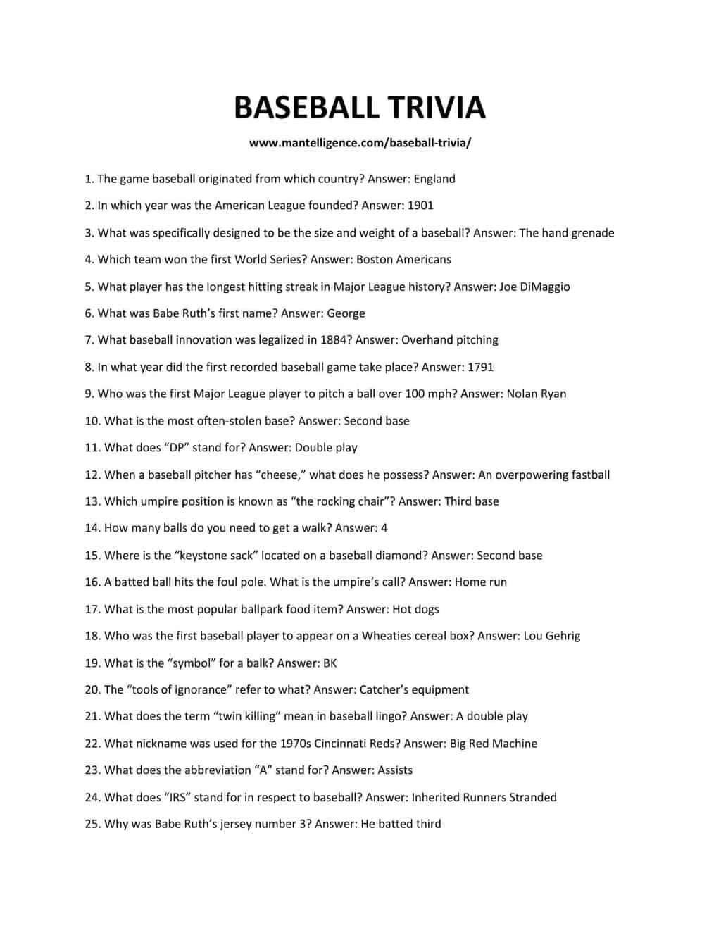 BASEBALL TRIVIA-1
