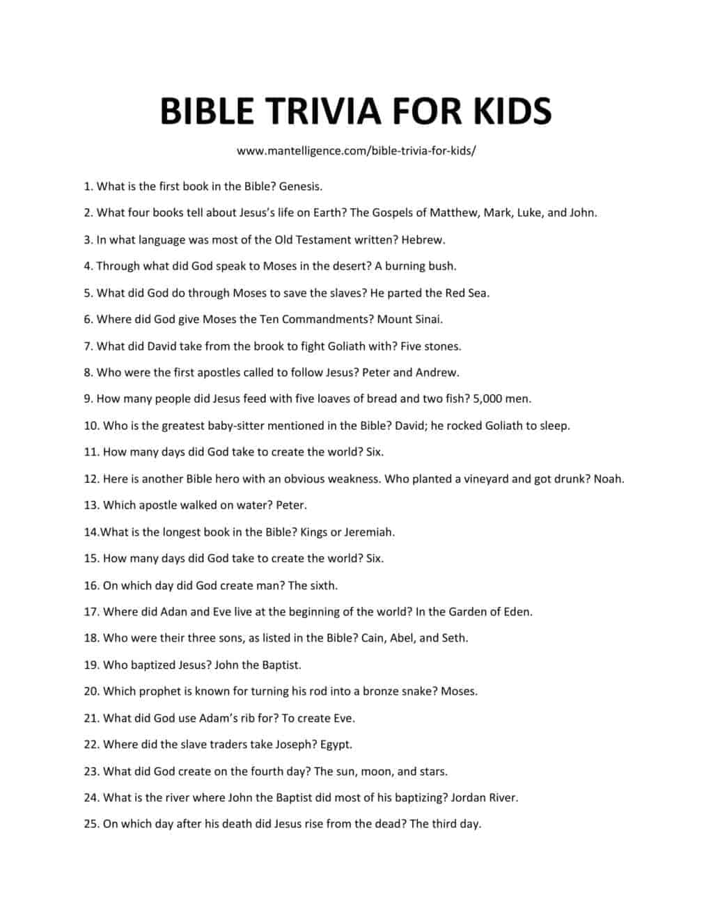 Downloadable and Printable list of bible trivia for kids as jpg or pdf