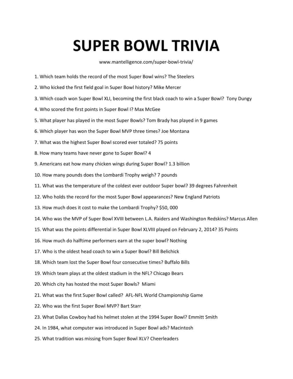 Downloadable and printable list of super bow trivia as jpg or pdf