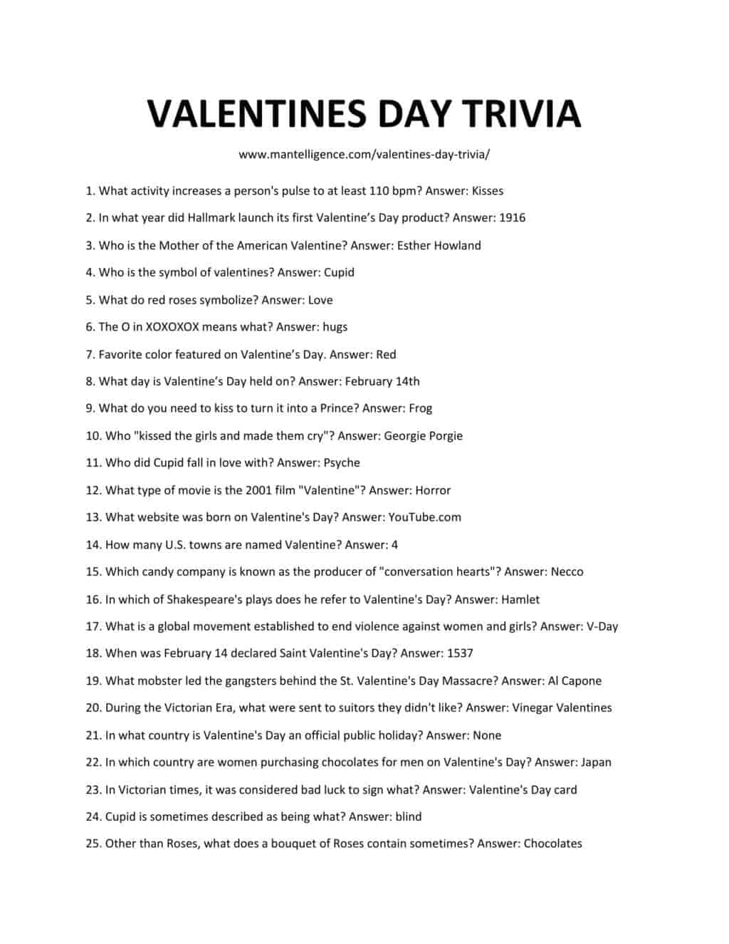 Downloadable and printable list of valentines day trivia as jpg or pdf