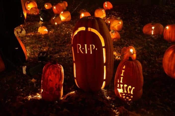 Halloween lanterns displayed on the ground