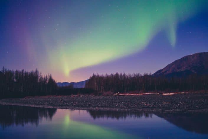 Aurora Borealis near lake