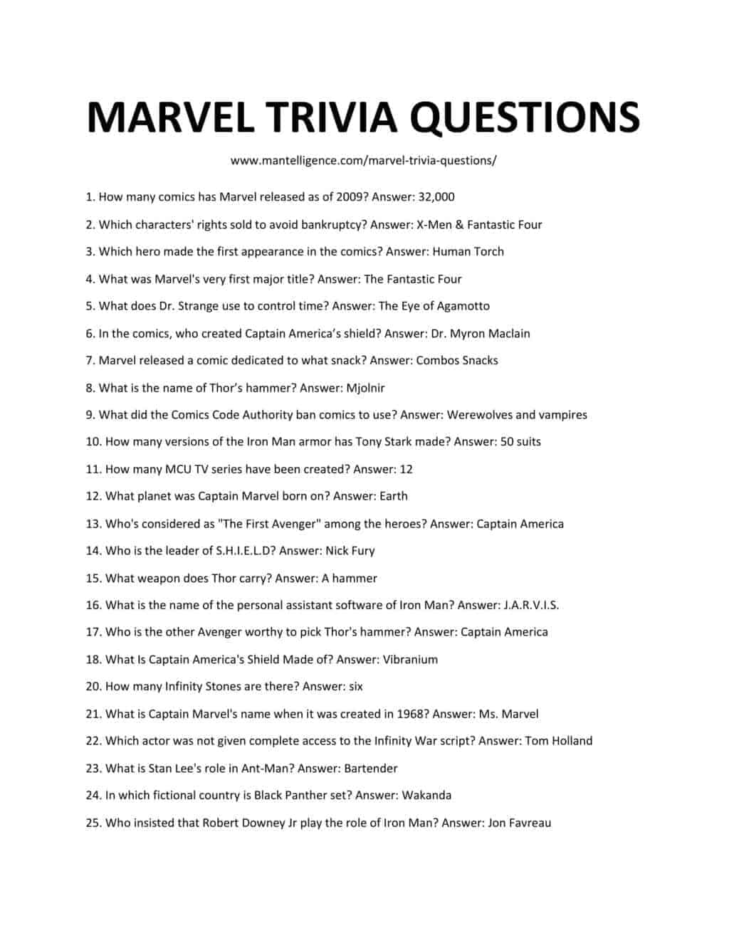 Download and printable list of marvel trivia questions as jpg or pdf