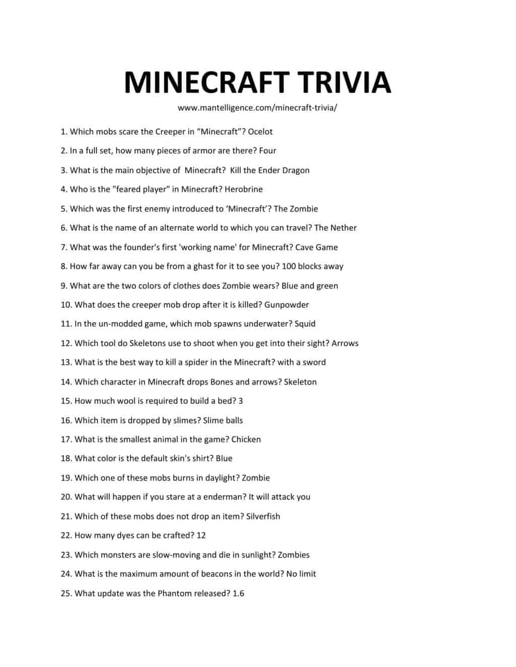 Downloadable and printable jpg/pdf list of Minecraft trivia
