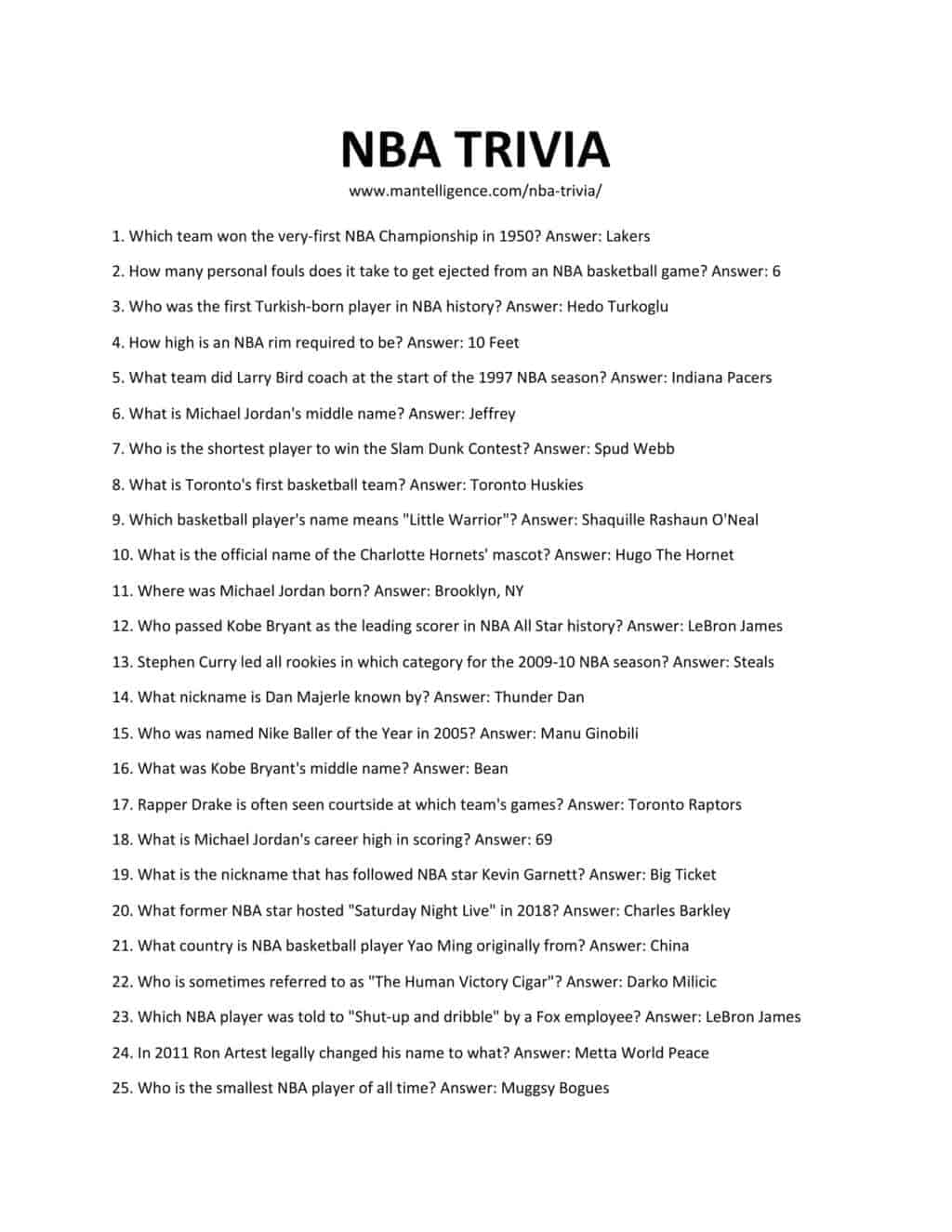 Downloadable and Printable List of NBA Trivia