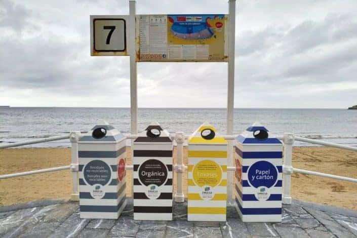 Four-bin waste recycling system