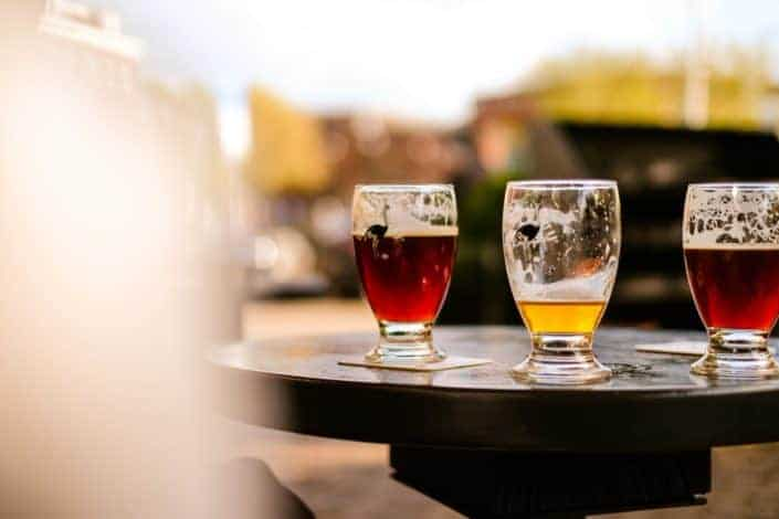 Glasses with beers on a table