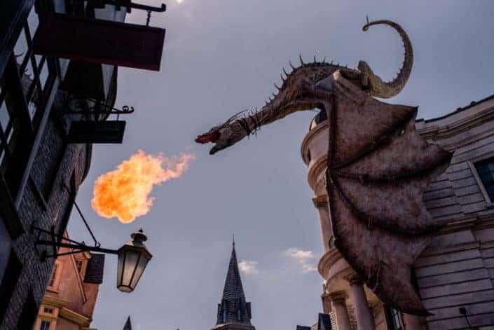 Huge dragon blowing fire