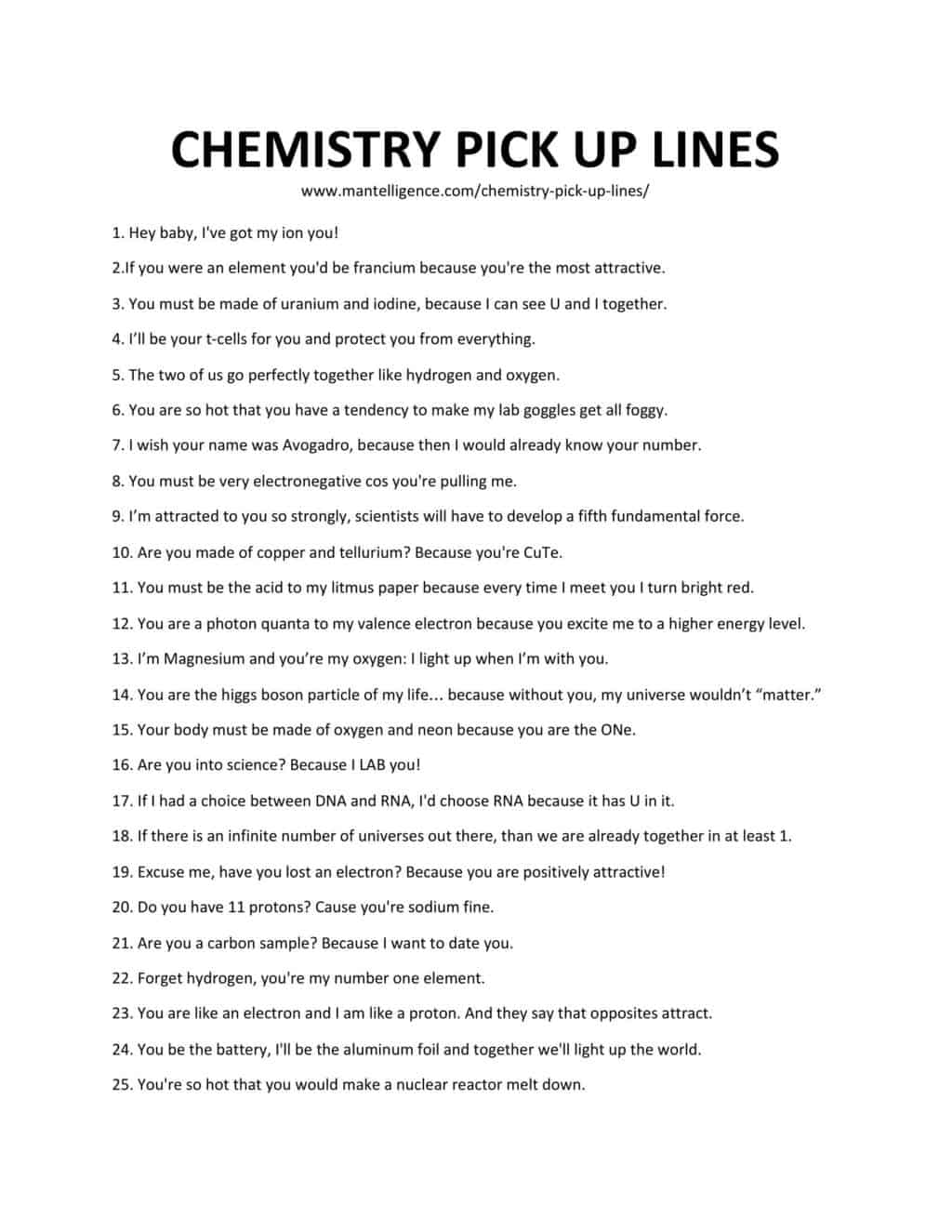 Downloadable and printable jpg/pdf list of chemistry pick up lines