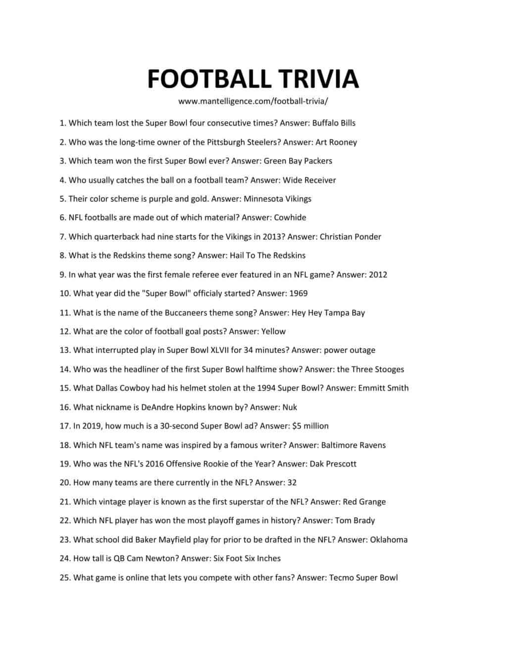 Downloadable and printable list of football trivia as jpg or pdf