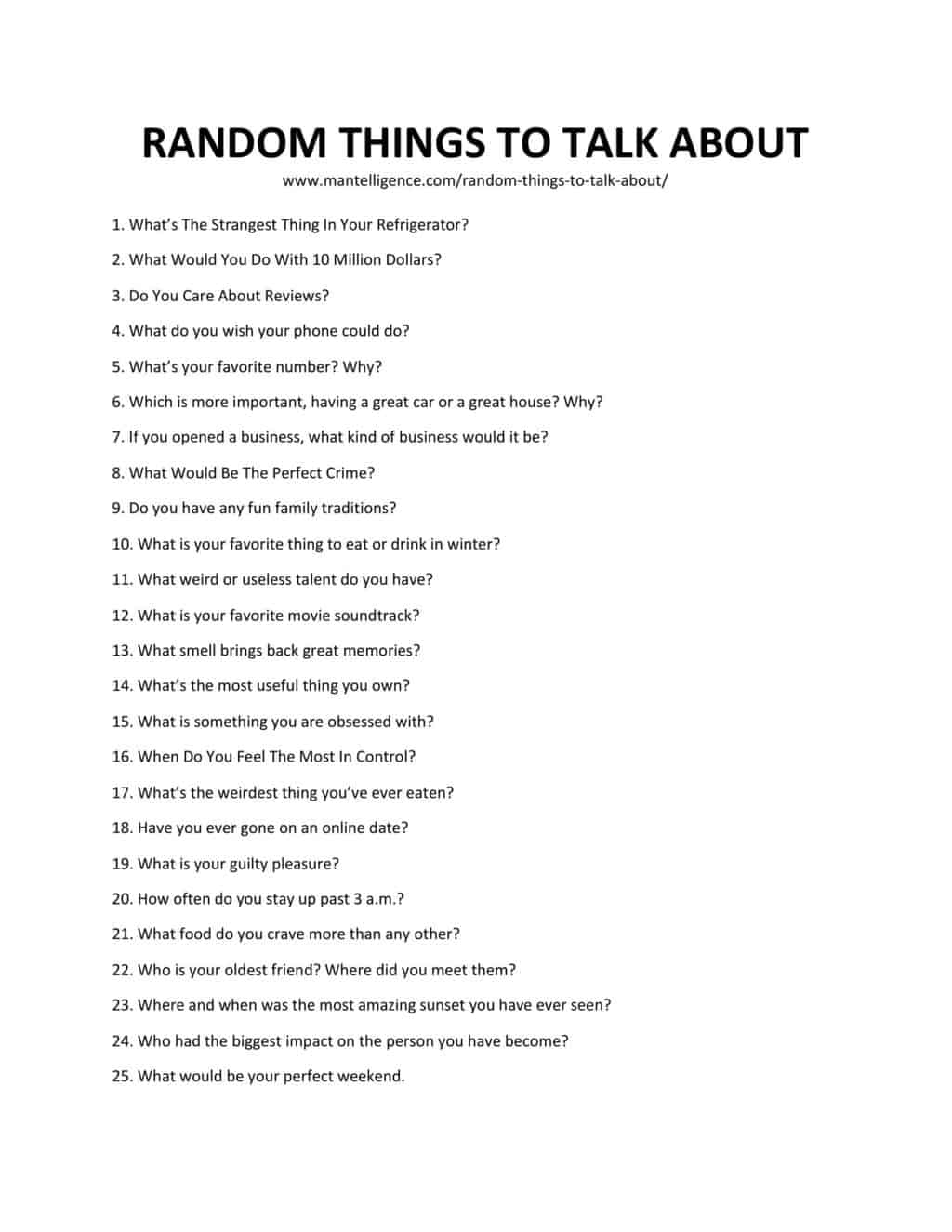 Downloadable and printable list of random things to talk about as jpg or pdf
