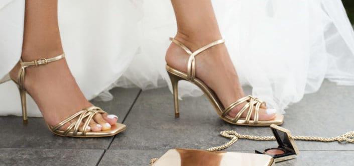 Bride wearing gold high heels
