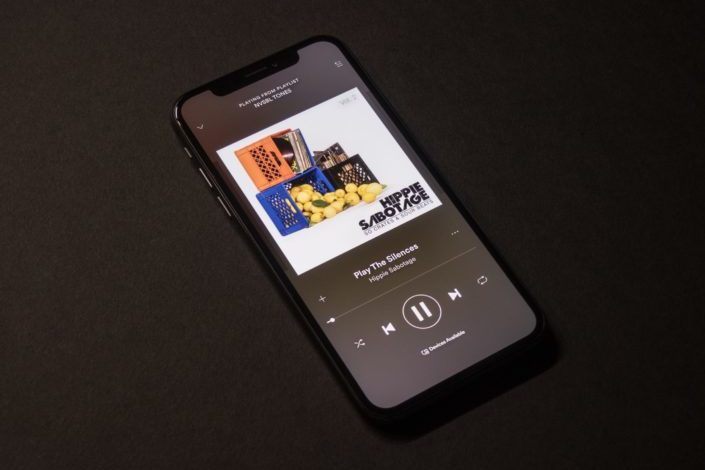 smartphone playing music
