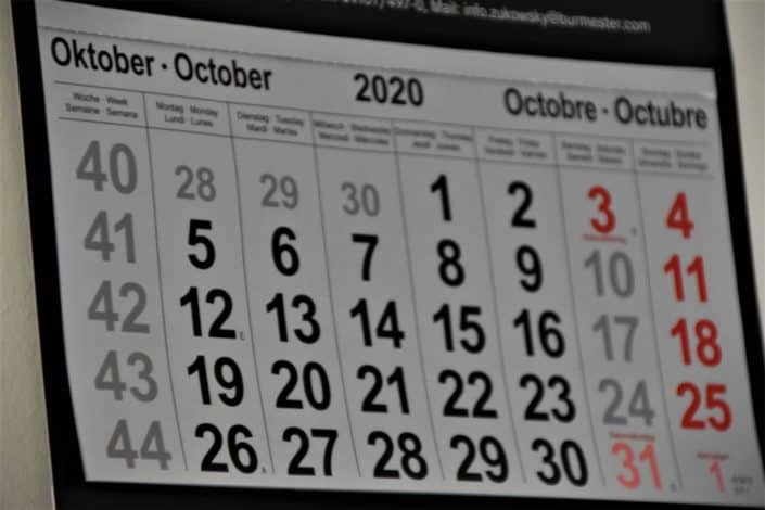 calendar with the month of October