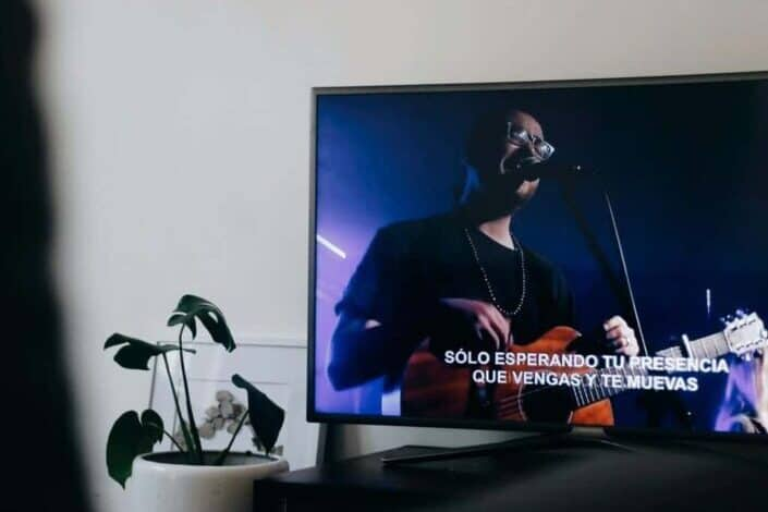 potted plant beside a television screen showing a man singing with a guitar