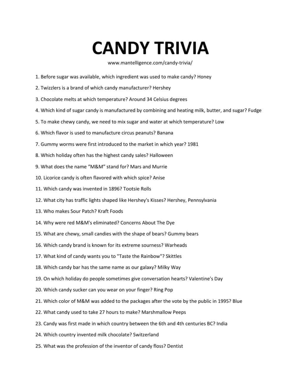 Downloadable list of trivia