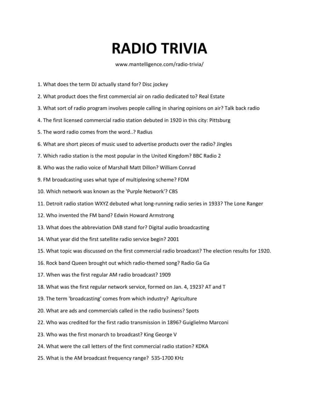 Downloadable list of trivia as jpg or pdf
